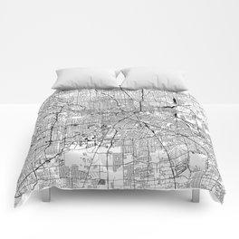 Houston White Map Comforters