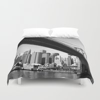 brooklyn bridge Duvet Covers featuring Brooklyn Bridge by Gold Street Photography