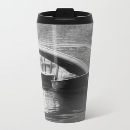 the boats sit quietly in the Venice Canals; black and white photography Metal Travel Mug