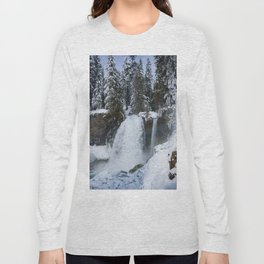 Winter Waterfall II - Pacific Northwest Nature Photography Long Sleeve T-shirt