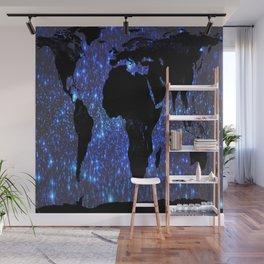 World Map : Blue Galaxy Stars Wall Mural