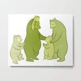 Bear family of Five Metal Print