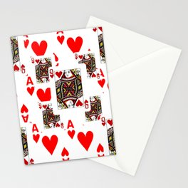 RED QUEEN OF HEARTS  & ACES PLAYING CARDS ARTWORK Stationery Cards