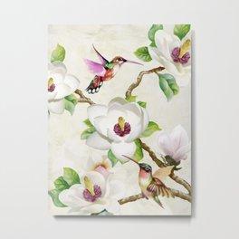 Terry Wang - Magnolia and Humming Birds Metal Print