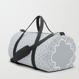 Classic Quatrefoil pattern, silver grey Duffle Bag