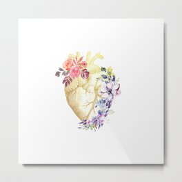 Floral Heart Anatomy  Metal Print