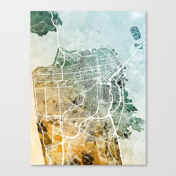 San Francisco City Street Map Canvas Print by artpause | Society6