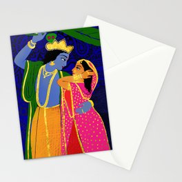 Radha & Krsna Colorful Illustration  Stationery Cards