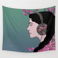 headphones Wall Tapestries featuring Girl in Headphones by Beesants