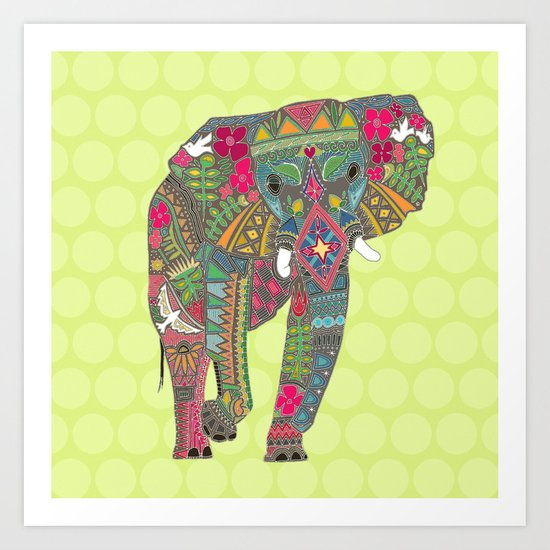 painted elephant chartreuse spot Art Print