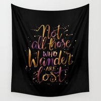 lotr Wall Tapestries featuring Not All Those Who Wander Are Lost by IndigoEleven