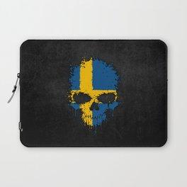 Flag of Sweden on a Chaotic Splatter Skull Laptop Sleeve