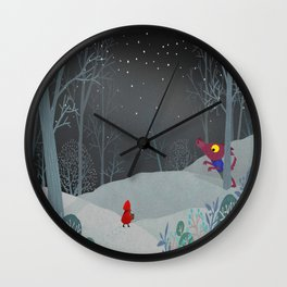The red cloak and the warmer wolf Wall Clock