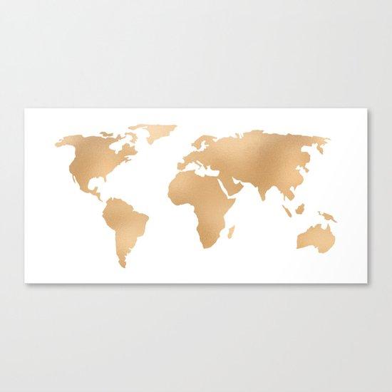 World Map Copper Bronze Gold Metallic Canvas Print