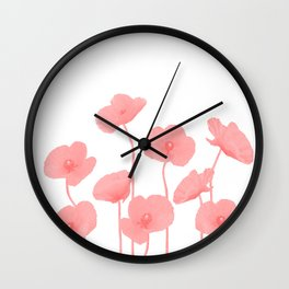 Poppies Flowers red light colored Wall Clock