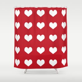 Hearts red and white minimal valentines day love gifts minimal gender neutral Shower Curtain