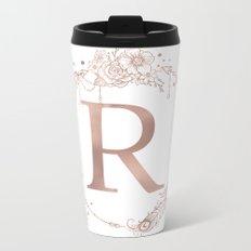 Letter R Rose Gold Pink Initial Monogram Metal Travel Mug