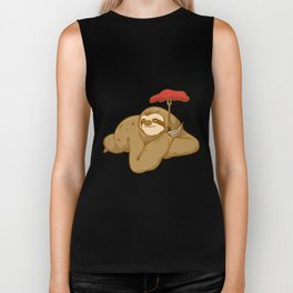 grill barbeque sloth Biker Tank
