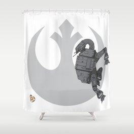 Droid Eek! (grey) - BB8 and AT-AT Standoff Shower Curtain