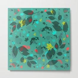 Leaf Blue Pattern Metal Print