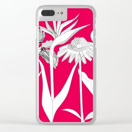 Spring Flowas Bring Girl Powas, Black and White Illustration Clear iPhone Case