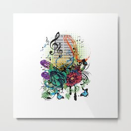 Retro musical microphone with floral Metal Print