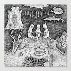 Knitting Cats Canvas Print