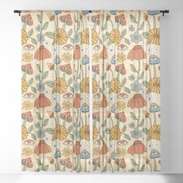 70s Psychedelic Mushrooms & Florals Sheer Curtain