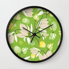 Magnolia Blossom Greenery Wall Clock