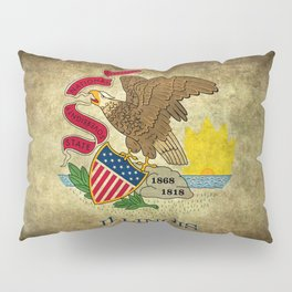 State flag of Illinois with grungy vintage textures Pillow Sham