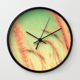 Swing into Spring (Reed Plants with Mint Green Sky Background) Wall Clock