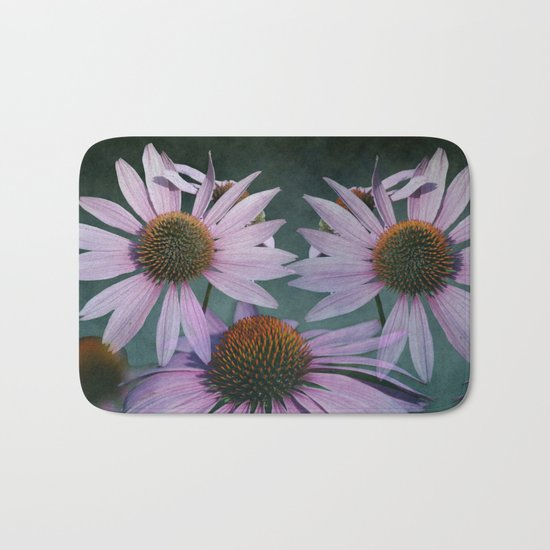 Beautiful summer with pink Echinacea / Daisy flowers Bath Mat