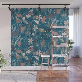 Flower seeds - Blue Wall Mural