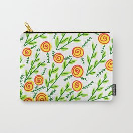 Yellow Roses Green Leaves Floral Pattern Carry-All Pouch