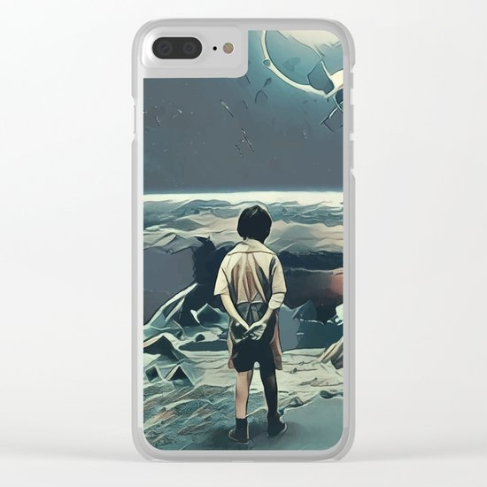 Lonely boy in cosmos Clear iPhone Case