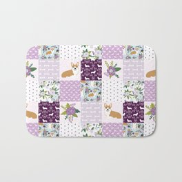 Corgi Patchwork Print - purple ,florals , floral, spring, girls feminine corgi dog Bath Mat