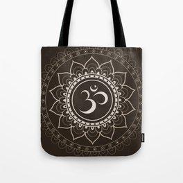 Espresso Brown Om Mandala Tote Bag