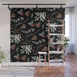 Xmas Pattern - Black Wall Mural