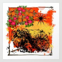 Pekingese pop art Art Print