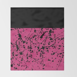Splat Black On Yarrow Boarder Throw Blanket