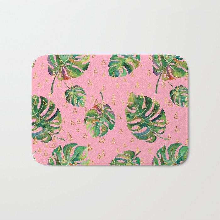 Monstera Gold // Monstera Pattern, Gold Foil Pattern, Lifestyle Digital Collage Pink Bath Mat