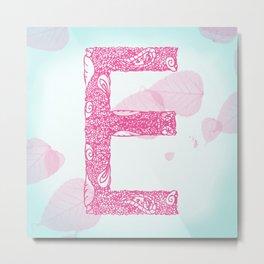 Floral Letter 'E' Metal Print