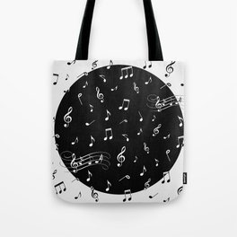 Music White and Black Tote Bag