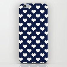 Indigo Navy Blue Hearts iPhone Skin