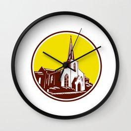 Trinity Parish Episcopal Church Woodcut Retro Wall Clock