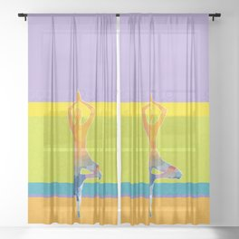 Simple silhouette of woman doing yoga Sheer Curtain