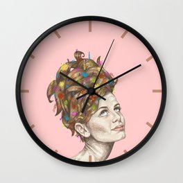 Hair Garden // twiggy with the cool hair Wall Clock