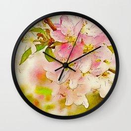 Spring Botanical CrabApple Blossoms Waterlogue Wall Clock