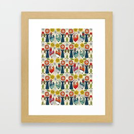 Swedish folksy cats and birds Framed Art Print