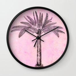 Pink Retro Palmtree Wall Clock